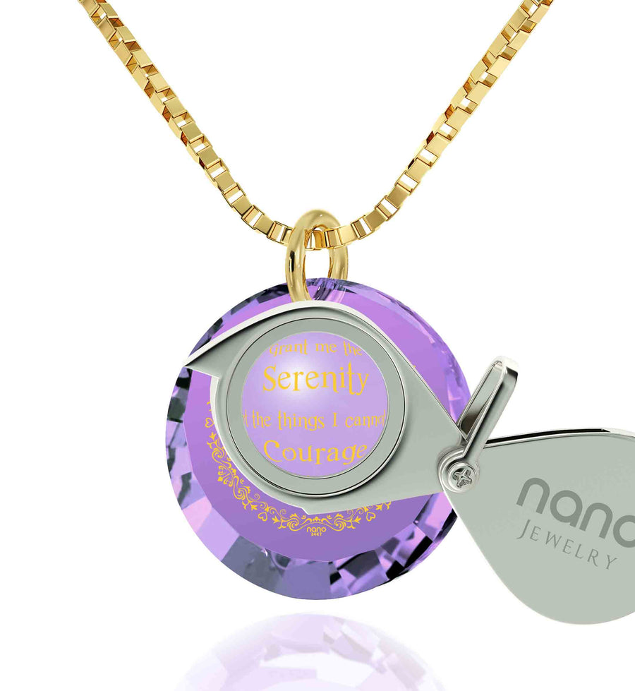 Serenity Prayer Necklace Inspirational Cubic Zirconia Pendant