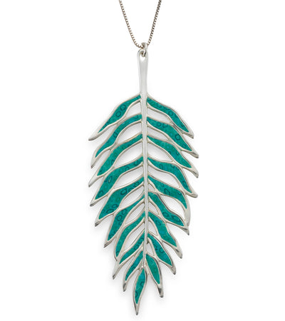 925 Sterling Silver Large Palm Tree Leaf Necklace Pendant