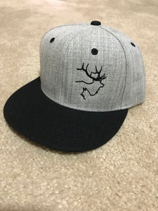 Flat Brim-Heathered Grey w-Black Bill & Logo