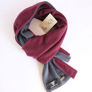 Burgundy Grey Reversible Pure Cashmere Scarf