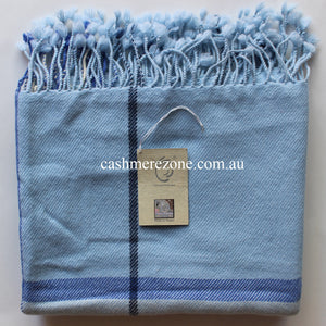 Blue Check Cashmere Shawl Scarf