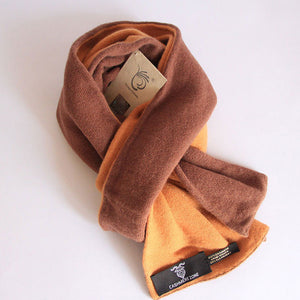 Chocolate Brown Reversible Pure Cashmere Scarf