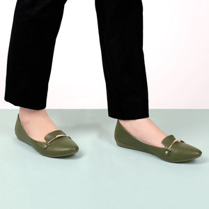 Foot Wear,Riveted Golden Plate Flats in Green - Cippele Multi Store