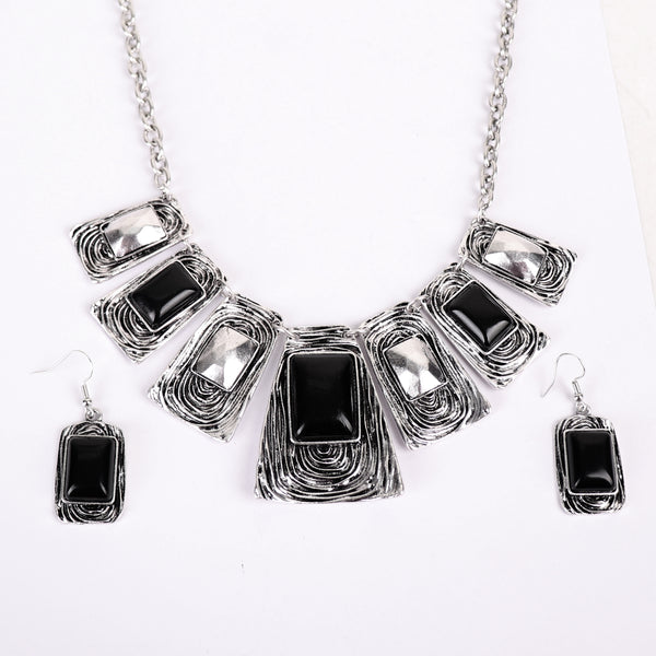 Necklace Set,High Fashion Metal Necklace Set in Black - Cippele Multi Store