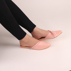 The Suede Foliate Mule in Baby Pink