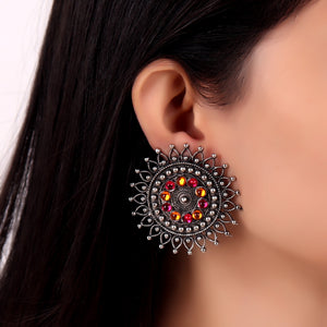 Earrings,Bold Flower Studs in Pink and Orange - Cippele Multi Store