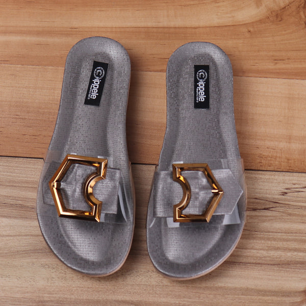 Foot Wear,Grey sliders with Buckle-detailing - Cippele Multi Store