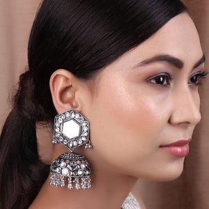 Earrings,Jhoomer Earring with Rhinestones and Mirror in White & Cream - Cippele Multi Store