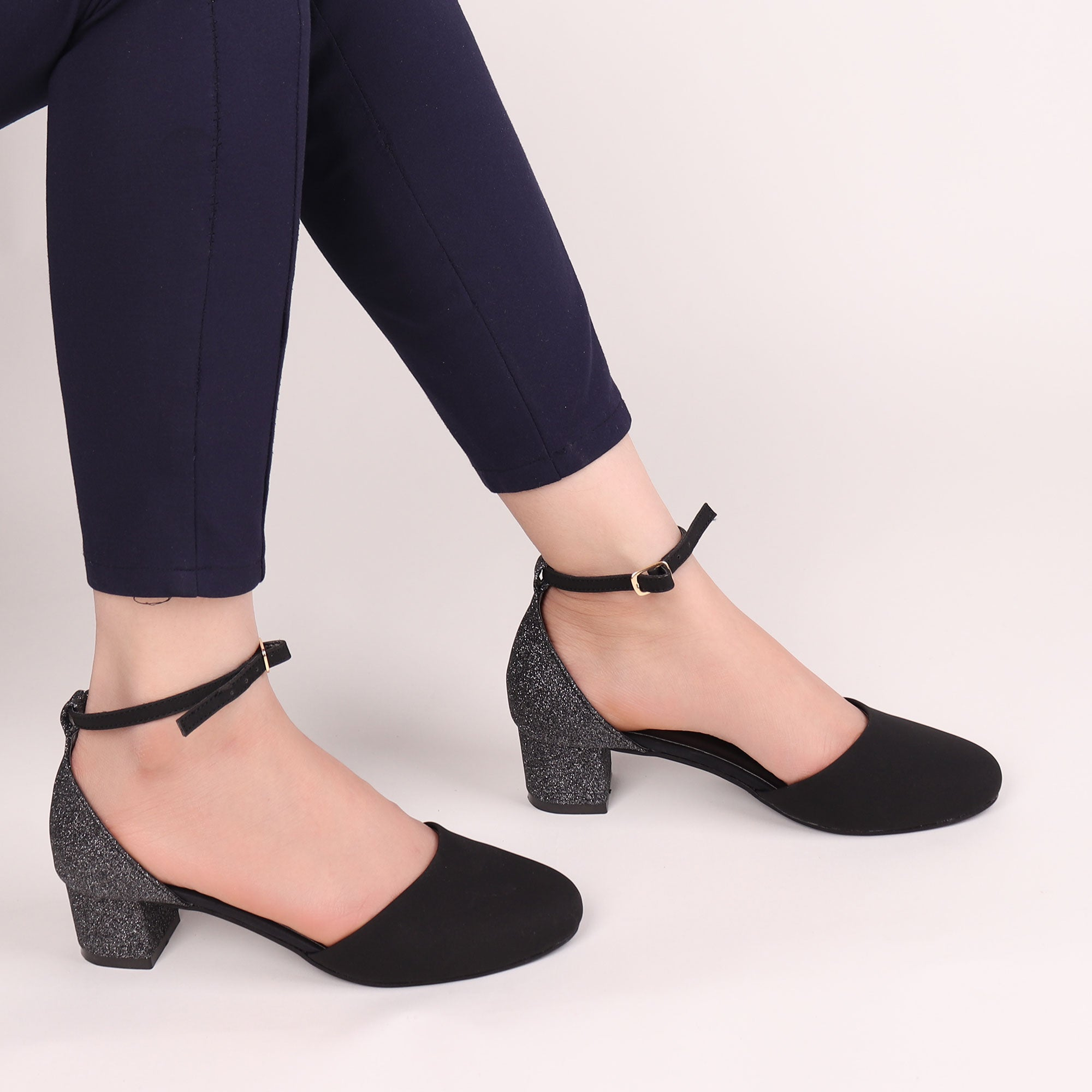 The Black Glitter Block Heel