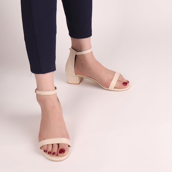 Foot Wear,It's Just the Right Block Heel in Cream - Cippele Multi Store