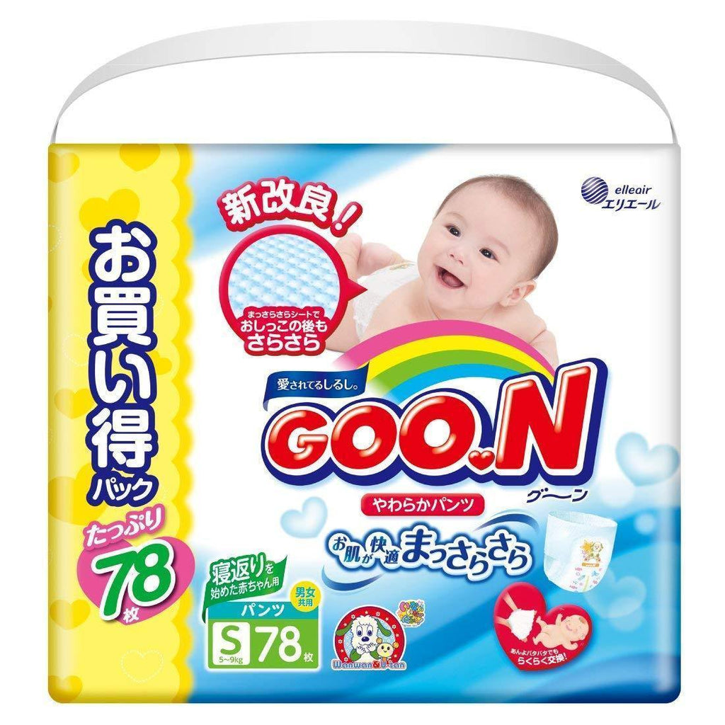 Goon nappies pants type S size ( 4- 9kg) 78pcs グーン パンツ S (4~9kg) 78枚 まっさらさら通気 Life Tokyo Direct