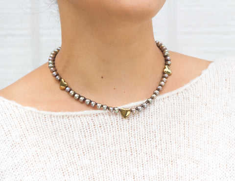 Adelia- Khaki Donut Pearls with Pyrite Hearts