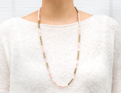 Selma- Variegated Pink Pearl with Golden Pyrite