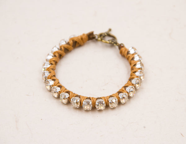 Butterscotch Golden Swarovski Woven Bracelet