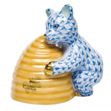 Herend Figurines Honey Bear Blue