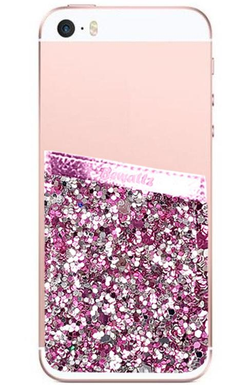 Phone Pocket Pink Glitter