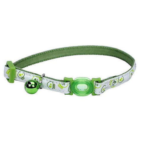 Safe Cat Glow in the Dark Adjustable Breakaway Collar Glowing Lime Skulls