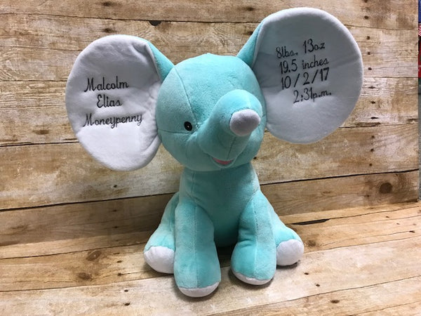Elephant with Personalized Embroidered Ears - Sew Cute By Katie