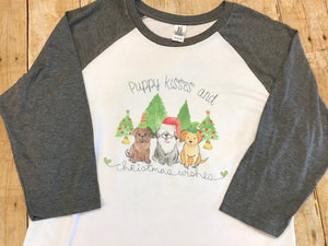 Puppy Kisses and Christmas Wishes Christmas Raglan T-shirt - Sew Cute By Katie