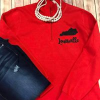 Louisville Cardinals Red 1/4 Zip Sweatshirt - Sew Cute By Katie