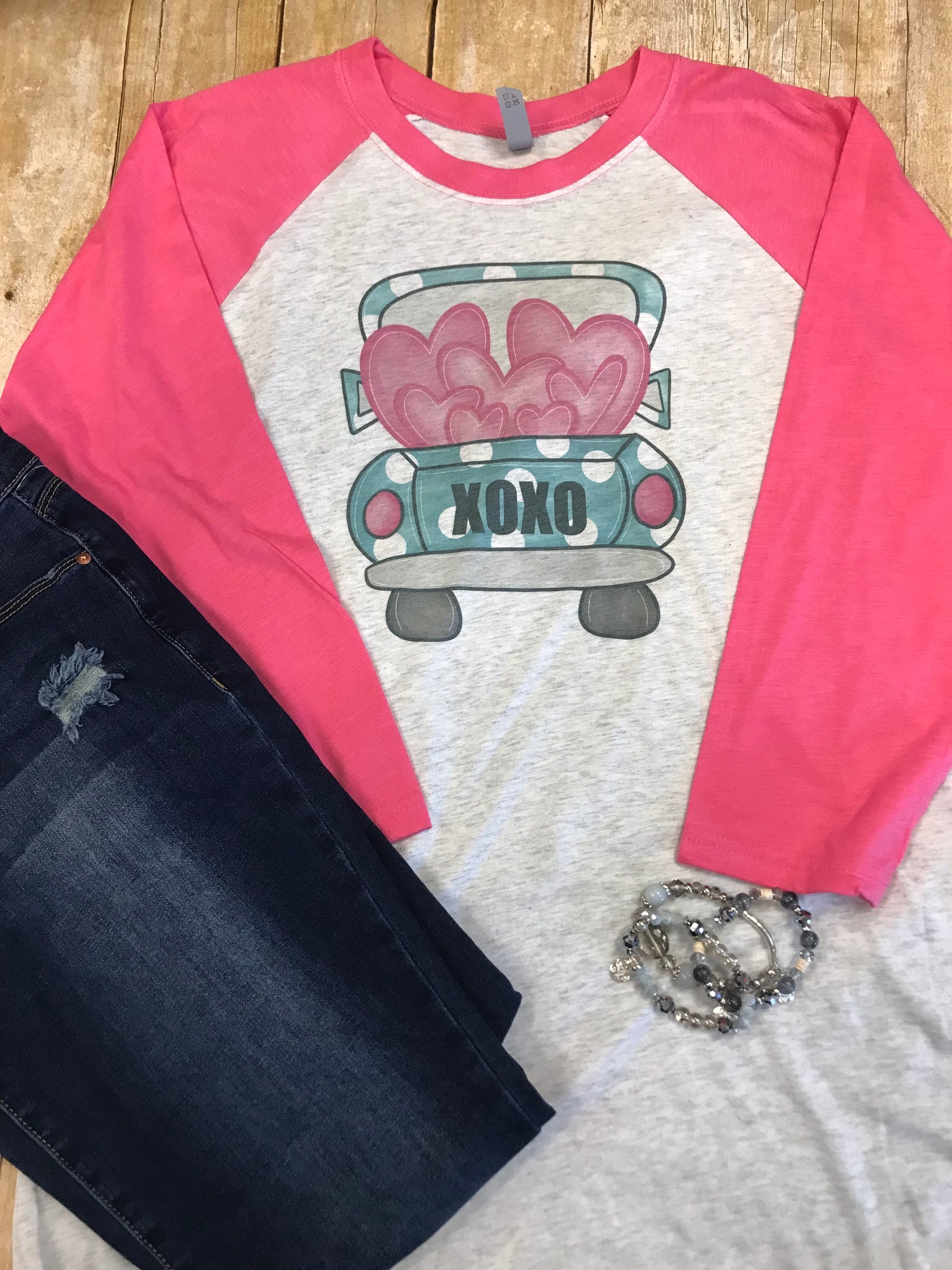 Valentine Truck Raglan T-shirt with pink sleeves - Sew Cute By Katie