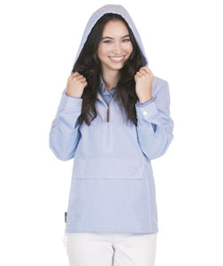 Blue Stripe Seersucker Pullover Jacket - Sew Cute By Katie