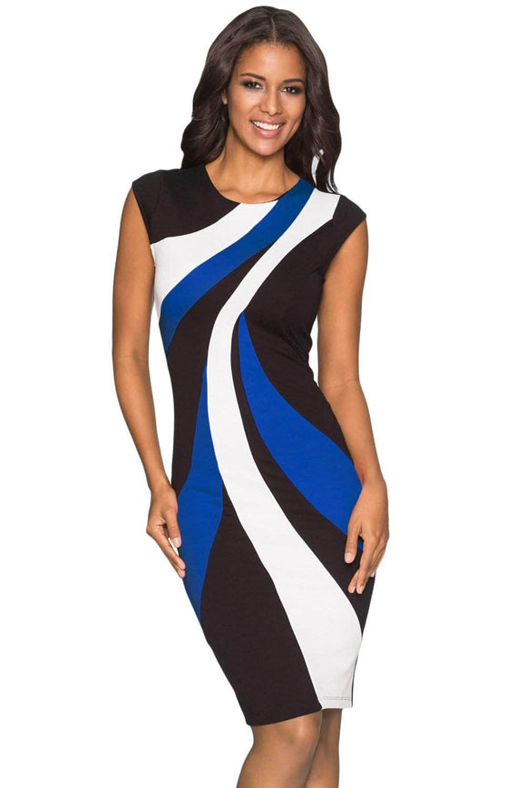 Blue Accents Colorblock Geometric Pattern Tube Dress
