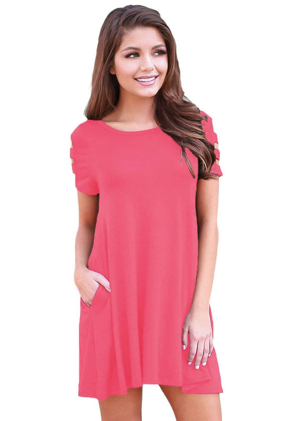 Pink Banded Short Sleeve Relaxing Casual Dress