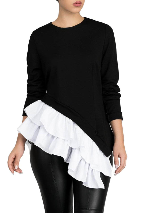 Black Asymmetric Frill Hem Women's Top