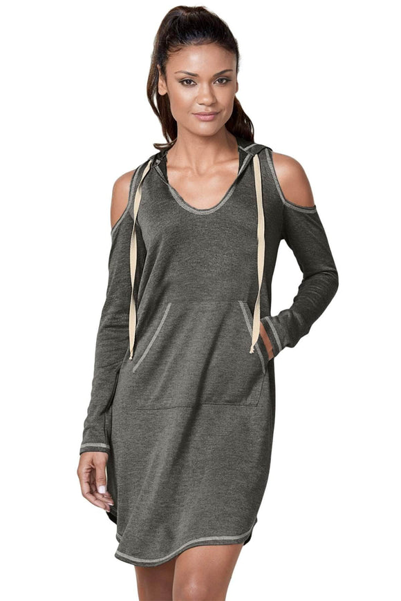 Gray Long Sleeve Cold Shoulder Hooded Dress