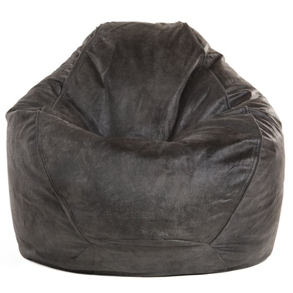 Adult Pear Faux Leather Charcoal Solid Beanbag Chair