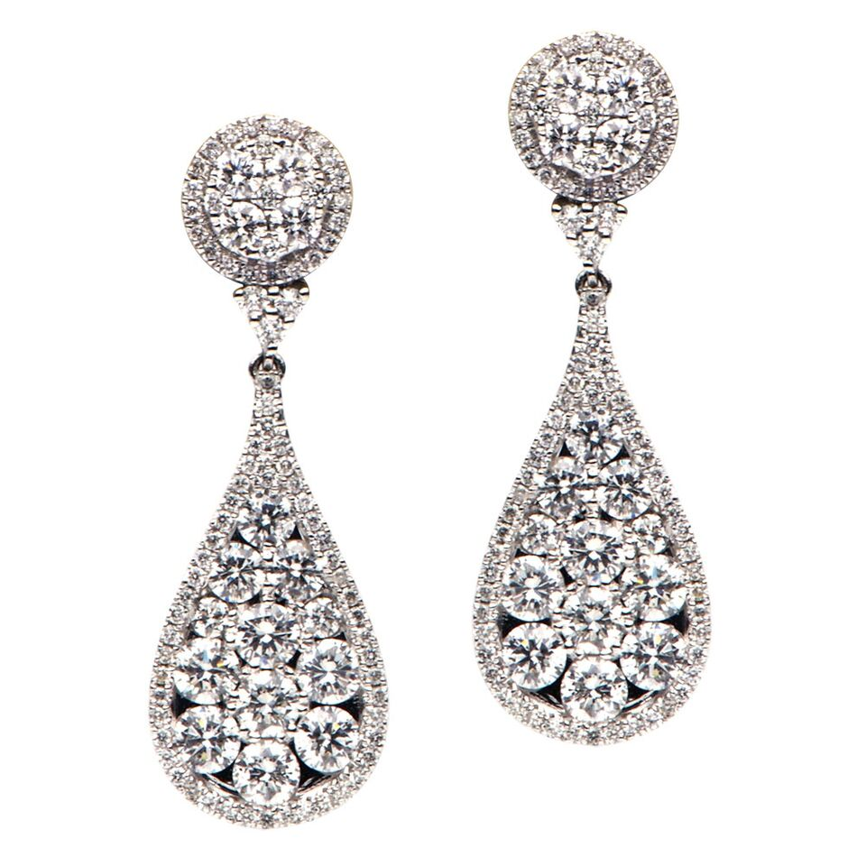 18k White Gold and Diamond Pave Drop Earrings