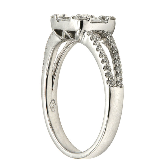 18k White Gold and Diamond Mosaic Ring