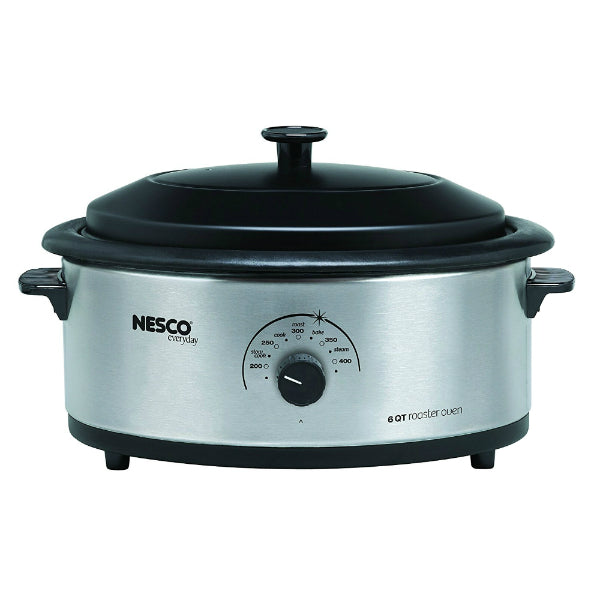 Nesco 4816-25PR Roaster Oven with Porcelain Cookwell, Stainless Steel, 6 Qt