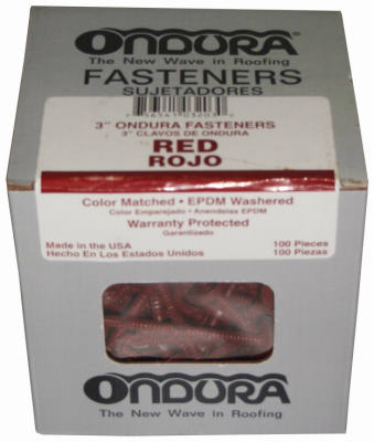 "Ondura 3203 Nails With Washers 3"", Red, 100-Pack"