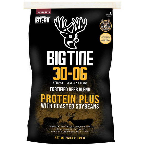 Big Tine DB25A Cherry Rush 30-06 Fortified Deer Blend Protein Plus, 25 Lb