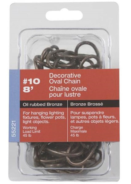 Ben-Mor 55221 Decorative Oval Chain, #10 x 8', Aged Bronze