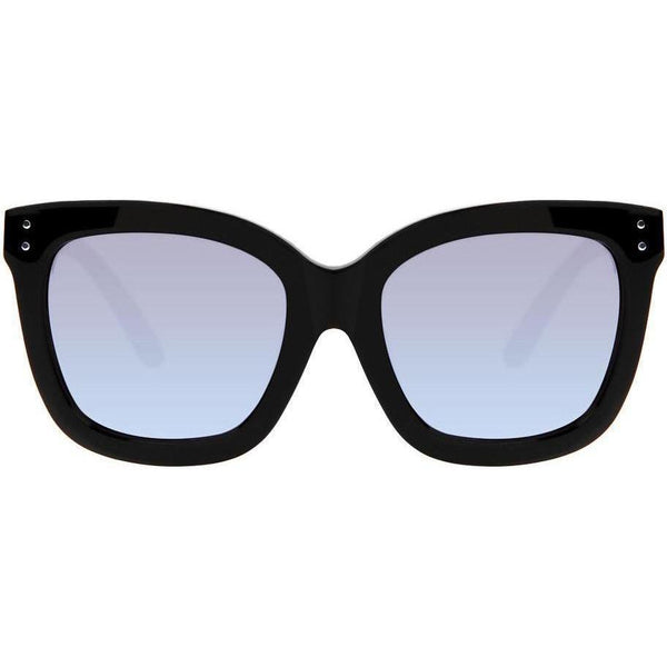 Oversize black sunglasses with camouflage temples and mirror lenses view 1