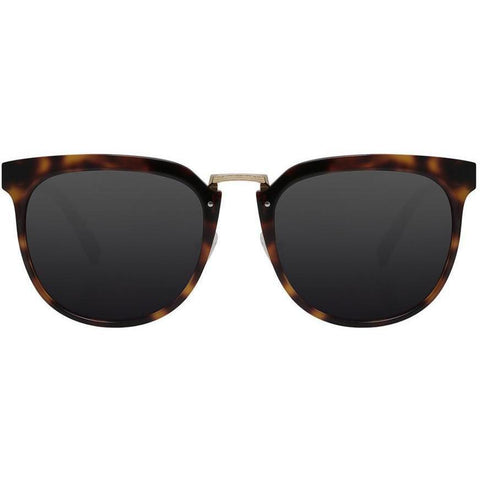 Tortoise semi circle sunglasses with gold accents view 1