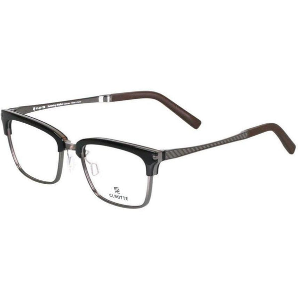 Black brow line rectangular glasses with metal rims view 2