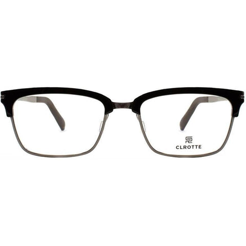Black brow line rectangular glasses with metal rims view 1