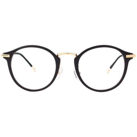 Black plastic round eyeglasses with gold rims view 1