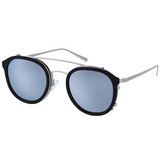 Black roundish sunglasses with silver rims and mirror lenses view 2