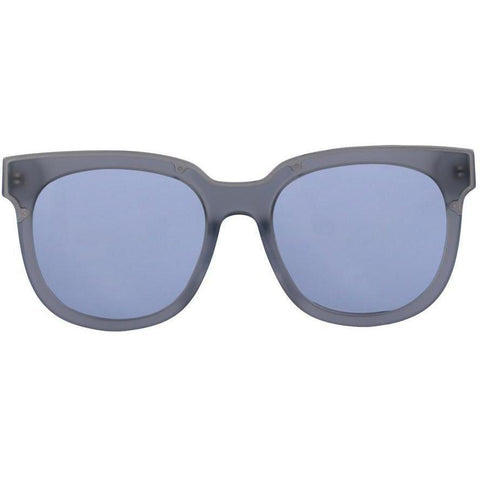 Large translucent gray sunglasses with bluish gray lenses view 1