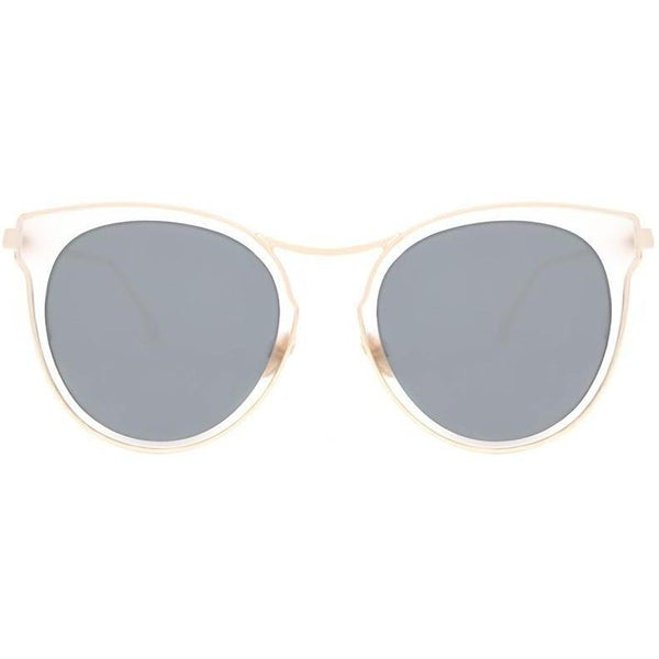 White sunglasses with thin gold rims view 1