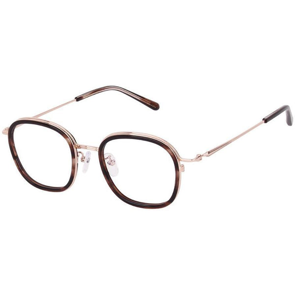 Tortoise square plastic eyeglasses with gold rims and temples view 2