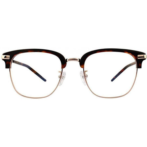 Large tortoise brow line eyeglasses with gold rims and temples view 1