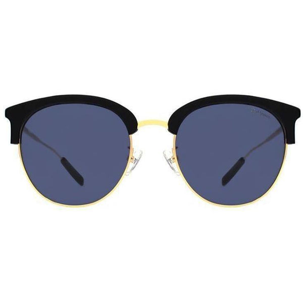 Black brow line round sunglasses with gold rims and temples view 1