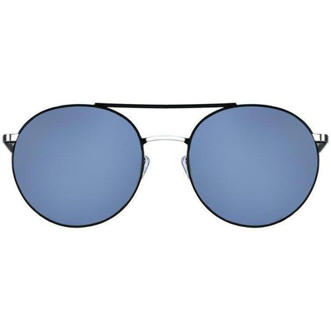 Large black circle sunglasses with blue lenses view 1