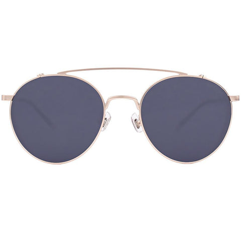 Round and gold aviator frames with black lenses view 1